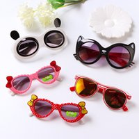 Wholesale kids cartoon sunglasses online - Mix styles kids sunglasses baby boys girls cartoon fashion sunglasses luxury years goggles Children kids designer cat eye glasses