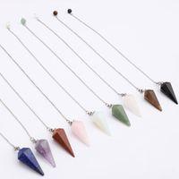 rohe steinperlen großhandel-Yoga sechseckigen anhänger rohen quarz naturstein pendelpendel halsketten reiki perlen für schmuck machen für frauen 18 * 36mm
