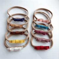 kızlar saçlı basit saç şeritleri toptan satış-Bebek Kız Yay Bandı Tasarımcı Bandı Düz Renk Süper Yumuşak Bez Basit Esneklik Yuvarlak Saç Sopa 49