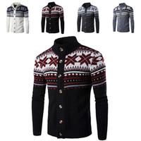 chaqueta de navidad para hombre al por mayor-Otoño invierno para hombre suéter de Navidad Snowflake Cardigan Coat Casual suéteres Cardigan prendas de punto chaqueta de Navidad ropa para el hogar WX9-1147