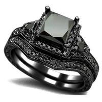bantlı oniks toptan satış-2019 Boyutu 5-11 Siyah Prenses Kesim Kristal Düğün Nişan Yüzüğü Band Set Gelin Halo Bildirimi Önerin Kokteyl Promise yıldönümü