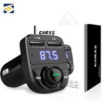 aux usb ses toptan satış-3.1A Hızlı Şarj Çift USB Araç Şarj FM Verici Aux Modülatör Kablosuz Bluetooth Ahizesiz Universal Araç Kiti Araç Ses MP3 Çalar