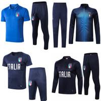 italya ceketleri toptan satış-Survetement futbol İtalya BELOTTI kısa kollu Polo gömlek BUFFON VERRATTI eğitim takım elbise ceket kitleri parça de ayak DE ROSSI futbol eşofman