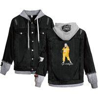 ingrosso jeans caldi neri-Billie Eilish Giacca di jeans Mens Streetwear Warm Jean Giacche con Black Hoody Jaqueta Masculino Outwear Cowboy 4XL
