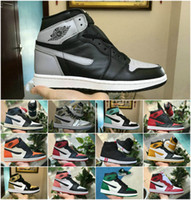pato de sombra venda por atacado-2019 New Mid OG 1 Top 3 Homens Sombra Sapatos 1s Homenagem Ao Casa Proibidos Criados Chicago Royal Blue Shattered Tabela Touca Sapatilhas Pato