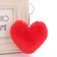 меховое кроличье сердце оптовых-Fluffy Fur pompom Keychain Soft Cute Heart Shape Pompon faux Rabbit Fur Pom Poms Ball Car Handbag Key Ring Dropshipping