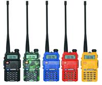 dualband vhf uhf handheld groihandel-100% Original Baofeng UV-5R Walkie Talkie Dual Band Professionelle 5 Watt VHFUHF Funkgerät UV5R Handheld Jagd HF Transceiver