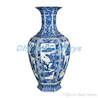 decoração de cerâmica azul venda por atacado-Antique Vintage Decoração de Casa Vaso De Cerâmica Hexágono Azul e Branco Porcelana Flor Chinês Ming Vaso
