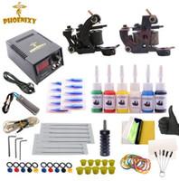 máquina para hacer al por mayor-Kit de tatuaje Completado 6 colores Set de tintas para tatuaje Set de 2 máquinas Fuente de alimentación negra Maquillaje permanente Profesional