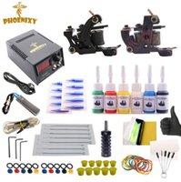 conjunto de tinta preta venda por atacado-Tatuagem Kit Completed 6 Cores Tinta De Tatuagem Set 2 Máquinas Set Black Power Supply Permanent Make Up Profissional