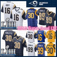 d99c6a0a5 Top St.louis Jersey Rams 30 Todd Gurley II 99 Aaron Donald 16 Jared Goff  2019 Super Bowl LIII Football Jerseys Stitched White Blue