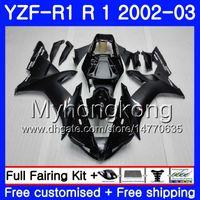 mate r1 al por mayor-Cuerpos Para YAMAHA YZF R 1 YZF 1000 YZF-1000 YZFR1 02 03 Carrocería 237HM.13 YZF R1 02 YZF1000 Negro mate YZF-R1 2002 2003 Carenado