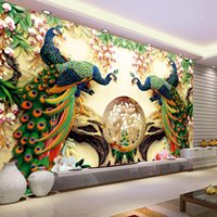 Wholesale peacock wall paint resale online - Custom D Wall Mural Wallpaper D Non woven Peacock Living Room TV Background Large Wall Painting Murales De Pared Wallpaper