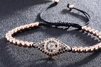 Wholesale bangle turkey resale online - 4mm ng3243 silver gold copper Turkey eyes micro pave cz zircon cubic zirconia Bracelet macrame Charm Braided Bangles Braiding
