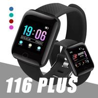 pulsera fitbit inteligente al por mayor-Fitness Tracker ID116 PLUS Pulsera inteligente con ritmo cardíaco Pulsera inteligente Pulsera de presión arterial PK ID115 PLUS 116 PLUS F0 para Fitbit MI