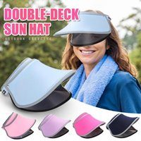 Wholesale sun protection tennis hat for sale - Group buy Sun Hats for Women Summer Golf Tennis Sports Sun Visors Hat Head Band Double Layer Beach Hat Protection Cap casquette gorras