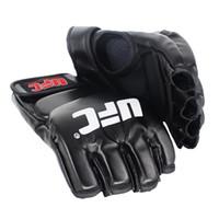 guantes deportivos de pelea al por mayor-Fighting MMA Sports Guantes de boxeo de cuero Tiger Muay Thai Fight Box Gloves Sanda Guantes Almohadillas Equipo de protección Negro