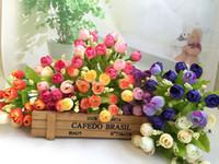 bouquet flores artificiais achat en gros de-Nouveau 15 Têtes Insolite Artificielle Rose De Soie Faux Fleur Feuille Home Decor Bouquet De Mariée flores artificielle bouquet De Mariage L3