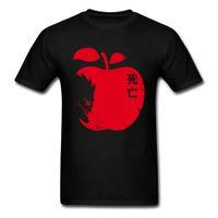 roupas de maçã preta venda por atacado-Vício Mortal T-shirt Death Note T Shirt Dos Homens Camisetas Death God Apple Imprimir Roupas Preto Vermelho Tops Tees Personalizado Algodão