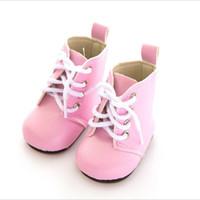 renda de boneca rosa venda por atacado-Fit 18 polegada 43 cm Boneca Sapatos Cadarços Nascido Nova Baby Doll Acessórios BJD Branco Preto Vermelho Rosa Botas de Renda Para O Presente de Aniversário do bebê