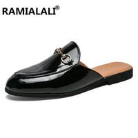 мужская мода кожаные тапочки оптовых-Ramialali  2019 New Men's Flip Flops Leather Slippers Summer Fashion Beach Sandals Shoes Men Shoes