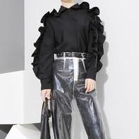 mädchen rüsche lange ärmel bluse großhandel-Neue 2019 koreanische Art-Frauen-stilvolle schwarze Blusen-Hemd-lange Hülse mit Rüschen-Mädchen-netter Abnutzungs-Bluse chemise femme blusas F726