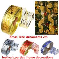 oropel de arboles de navidad al por mayor-Fiesta de Navidad 2019 adornos de árbol de Navidad 2 m de oropel decoraciones colgantes decoración para el árbol de navidad 10 unids