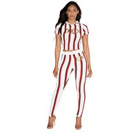 Wholesale clothes hook sizes resale online - Sexy Women Clothes Stripe Printing Gilding Colour Letter Two Piece Set Tight fitting short sleeved trousers size S XL