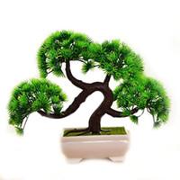 künstlicher minibaum großhandel-Mini Künstliche Kiefer Bonsai Tree Simulation Gast-Gruß Kiefer Künstliche Pflanzen Für Home Office Decor Wie Gezeigt