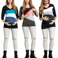 Wholesale nursing clothes for sale - Group buy Pregnants Clothes Women s Maternity Nursing Wrap Top Color Block Double Layer Blouse T Shirt