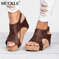 Wholesale high heeled clogs resale online - Women Summer Gladiator Flat Platform Wedge Heels Sandals Female Clogs Hook Loop Peep Toe Ladies Party Shoes For Girls Footwear Y19070303