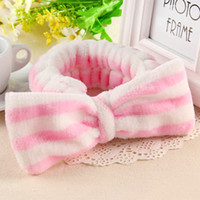 Wholesale hair gums online - New Fashion Makeup Women Elastic Headbands Cotton Soft Dot Striped Hairbands Girls Cute Tie Hair Gums Head Wear Hair Accessories