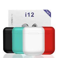 Wholesale iphone white bluetooth headset online – i12 tws Bluetooth Earphone Headphones sport Wireless Earbuds Pop up window earpiece Headset with package