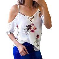 синие белые принты блузка оптовых-Летние женщины дамы шифон блузки топы белый синий Sexy цветочные печатных холодное плечо с коротким рукавом блузка blusas S-XL