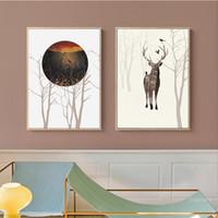 abstrakte gemälde mädchen großhandel-Abstract Wall Art Canvas Paintings Nordic Poster Drucke Cartoon Deer und Baum-Wand-Bilder für Mädchen-Baby-Kind-Raum-Grafik