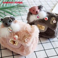 bolsa mini osos de peluche al por mayor-Niños lindos Princess Girl Kids Mini Plush Crossbody Bolsa de Piel Hombro Messenger Bag bear decorate 2018 Nuevo