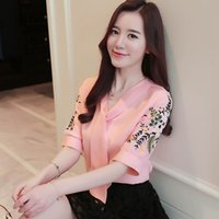 flor coreano da fita venda por atacado-Senhoras Casuais V Neck Tie Blusa Plus Size Elegante Bordado Flor Camisa Chiffon Mulheres Coreano Escritório Camisa de Manga Curta Fita