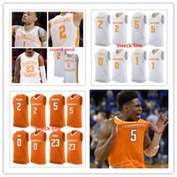 ingrosso linea a collo rotondo-Personalizzato Tennessee Volunteers College Basketball Qualsiasi Nome Qualsiasi Numero Vneck linea girocollo arancione bianco Mens maglie cucite