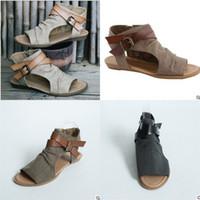 sandalias marrones peep toe al por mayor-Sandalias Peep Toe de verano para las mujeres de la hebilla de las cuñas Negro Marrón Gris Zapatos de Moda Simple Roma Venta Caliente 30sla D1