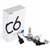 ingrosso kit h4 alogeno-2 pezzi H8 / H9 / H11 H1 H7 H4 H13 H3 9005 9006 9007 880 Lampadine a LED - Kit di conversione da 76W 7600LM Sostituzione della lampadina da 6000K per alogeni