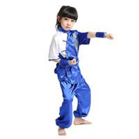китайские куртки для девочек оптовых-Abaya Lovely Kids вышитый костюм с китайским стилем BoysGirls Kung Fu Устанавливает пиджак WuShu Драматургический костюм