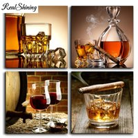 Wholesale canvas paintings wine glasses for sale - Group buy 4pcs D Diy Diamond Painting Full Square Round Mosaic Diamond Embroidery Still Life Wine Glass Pictures of Rhinestones FS3732