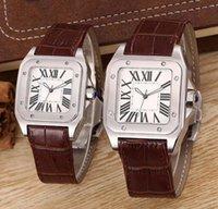 relógios ouro xl venda por atacado-2019Top qualidade Mulheres Senhora 100 XL Assista Quartz Relógio Mecânico de Couro de Ouro Caso de prata Esportes dos homens fecho Relógios de Pulso e O Melhor