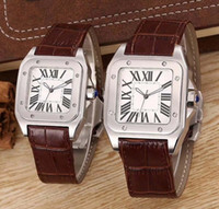 xl gold uhren großhandel-2019Top Qualität Damen Lady Men 100 XL Uhr Quarz Mechanische Uhr Leder Gold Silber Fall Herren Sport Verschluss Armbanduhren und The Best
