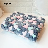 Wholesale pet mat blanket resale online - 3 sizes pet dog blanket love heart printed winter warm puppy soft bed dog bed for large medium and small dogs