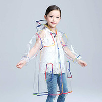 casaco de chuva para meninas venda por atacado-Transparente Capa de Chuva para crianças Meninos capa de chuva Casaco de Chuva Com Capuz Ao Ar Livre Claro Impermeável Crianças Meninas Da Criança Da Criança capa de Chuva Impermeáveis