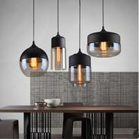 siyah cam askı ışığı toptan satış-İskandinav Modern Loft Cam Kolye Işıkları Yaratıcı LED E27 araba Cafe Restaurant yatak odası Siyah Beyaz asılı lamba