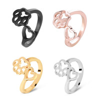 Wholesale knuckle rings for sale - Love Heart Dog Pet Print Open Ring For Women Girl Colors Cute Romantic Knuckle Finger Ring Shellhard Statement Jewelry