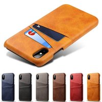 Wholesale vintage textiles for sale - Group buy For iPhone X XS Max XR Credit Card Case Vintage PU Leather Wallet Case for iPhone S Plus Card Slots Hard Cover
