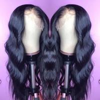 peruca de laço suíça virgem indiana venda por atacado-Raw Indiano Virgem Cabelo Humano Frente de Malha Peruca Onda Do Corpo 13x6 Lace Frontal Perucas Indiano Onda Do Corpo Cheia Do Laço Perucas de Cabelo Humano